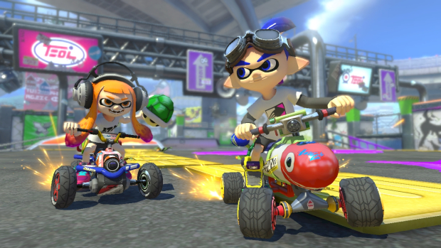 Mario Kart 8 Deluxe (NS) - a Splatoon characters fit in great