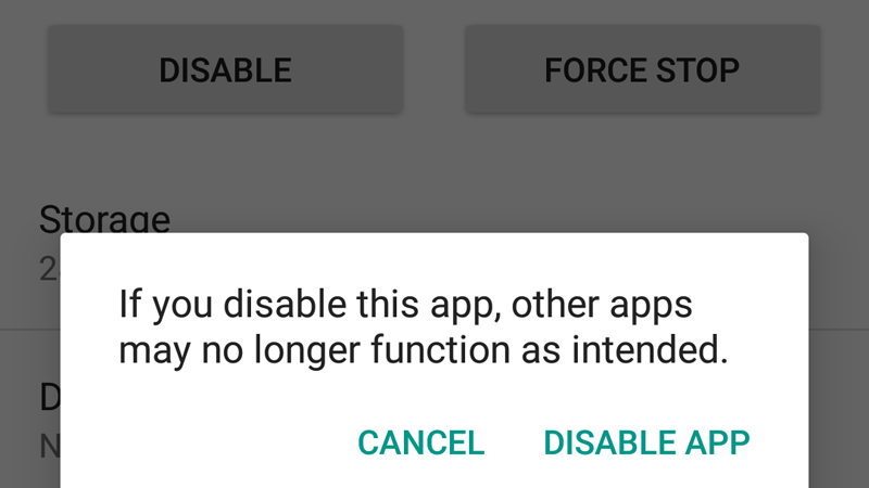 Disable app Android